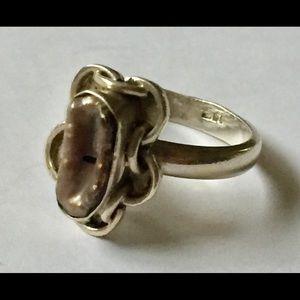Vintage boho sterling silver ring 925 pearl
